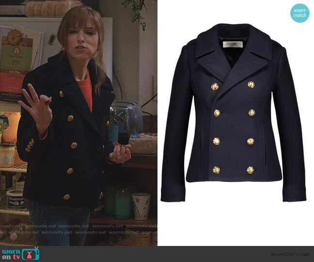 Classic cropped woollen pea coat by Celine worn by Darby (Anna Kendrick) on Love Life