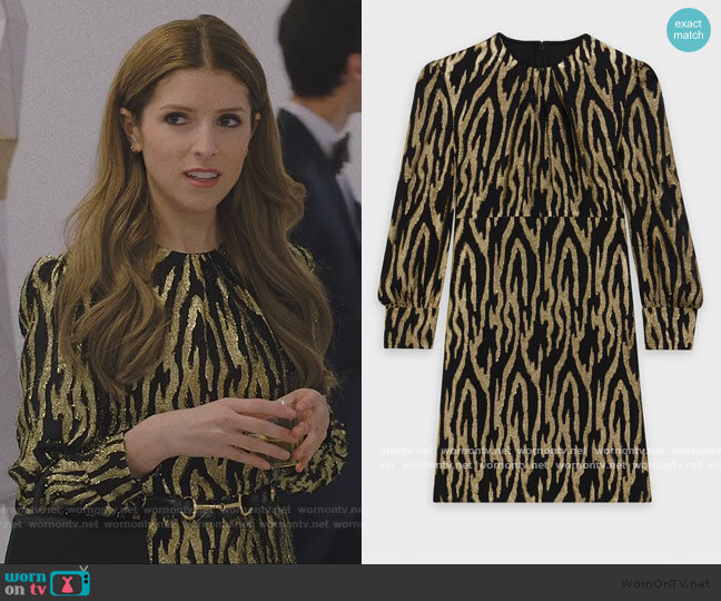 Metallic Zebra Stripe Mini Dress by Celine worn by Darby (Anna Kendrick) on Love Life