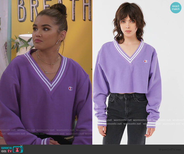 Cropped Varsity Sweater by Champion worn by Alexa Mendoza (Paris Berelc) on Alexa & Katie