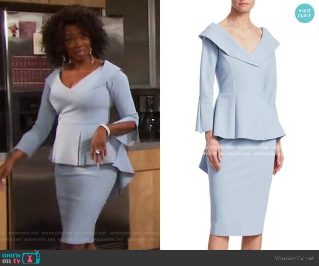 Zoya Peplum Sheath Dress by Chiara Boni La Petite Robe worn by Valerie Grant (Vanessa Williams) on Days of our Lives