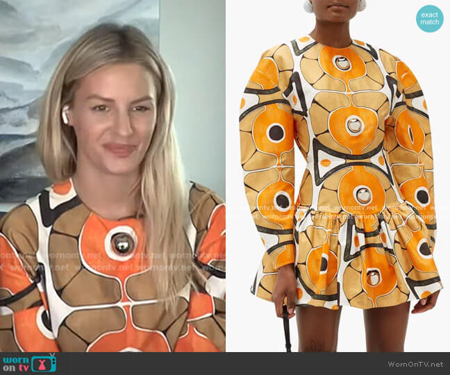 Dome-Embellished Molecule-Print Cotton Mini Dress by Christopher Kane worn by Morgan Stewart  on E! News