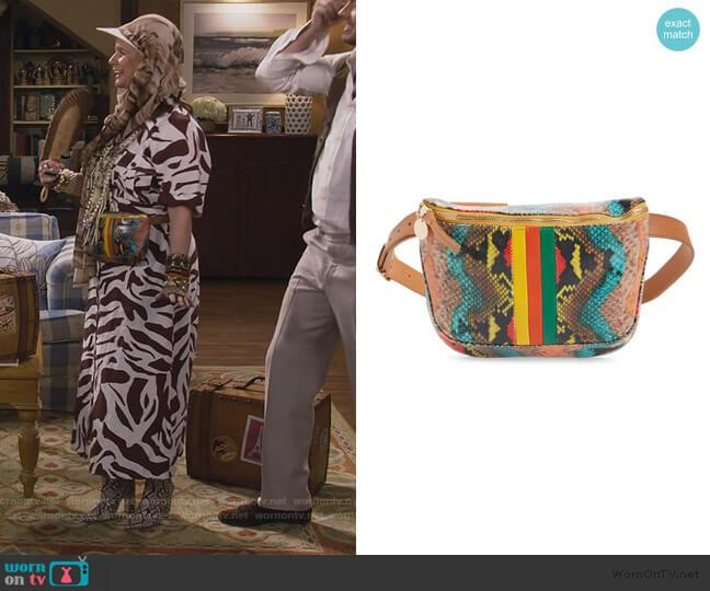 Snake Embossed Leather Belt Bag by Clare V. worn by Kimmy Gibbler (Andrea Barber) on Fuller House