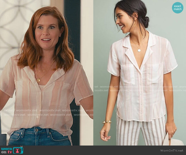 Dana Buttondown Top by Cloth & Stone at Anthropologie worn by Maddie Townsend (JoAnna Garcia Swisher) on Sweet Magnolias
