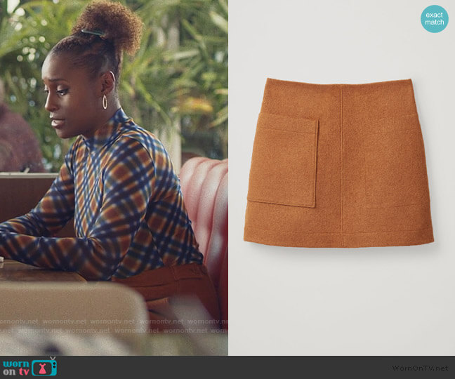 Wool Mini Skirt by Cos worn by Issa Dee (Issa Rae) on Insecure