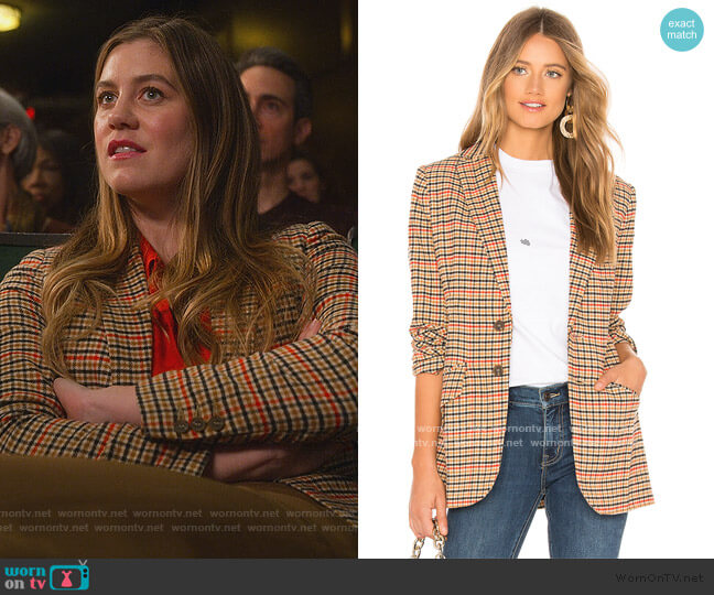 The Date Night Blazer by Current/Elliott worn by McAfee (Laura Dreyfuss) on The Politician
