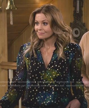 DJ's metallic dot floral blouse on Fuller House
