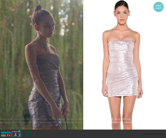 Silk Voile Lame Mini Dress by Dsquared2 worn by Carla Roson Caleruega (Ester Exposito) on Elite