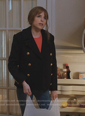 Darby's navy double breasted coat on Love Life