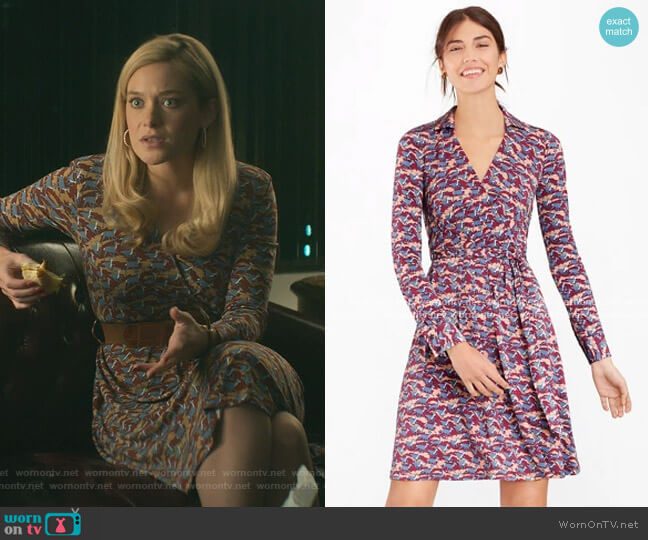 Deer-Print Jersey Faux Wrap Dress by Brooks Brothers worn by Rachel Keller on Dirty John