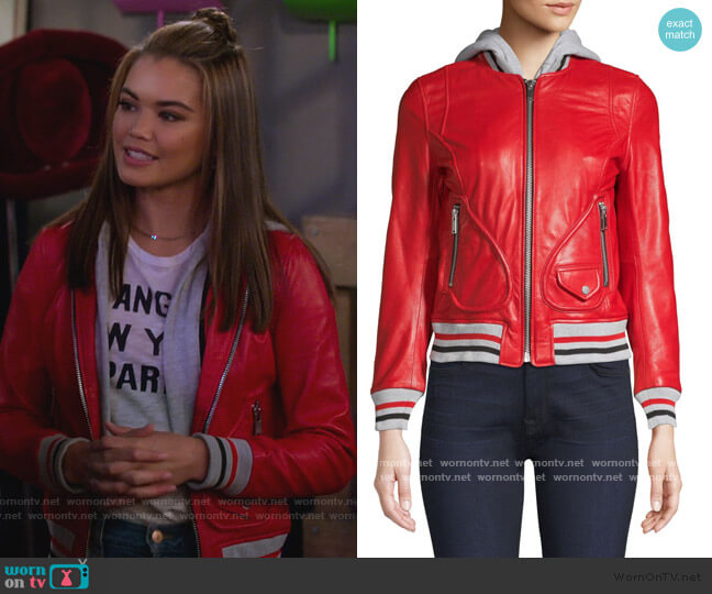 Michelle Hooded Leather Varsity Jacket by Doma worn by Alexa Mendoza (Paris Berelc) on Alexa & Katie
