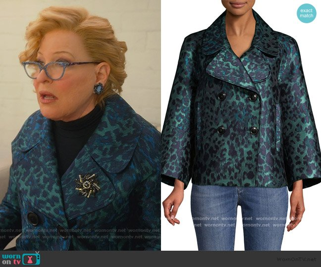 Edna Leopard-Print Lacquard Jacket by Elie Tahari worn by Hadassah Gold (Bette Midler) on The Politician