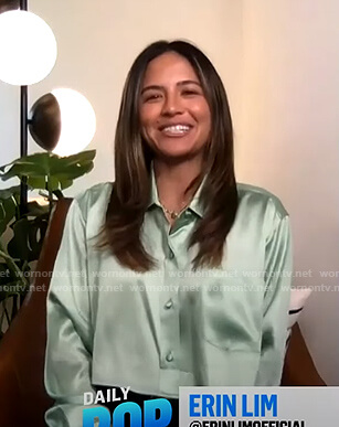 Erin's green cropped satin shirt on E! News Daily Pop