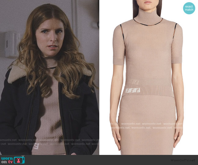 Short Sleeve Mesh Turtleneck Sweater by Fendi worn by Darby (Anna Kendrick) on Love Life