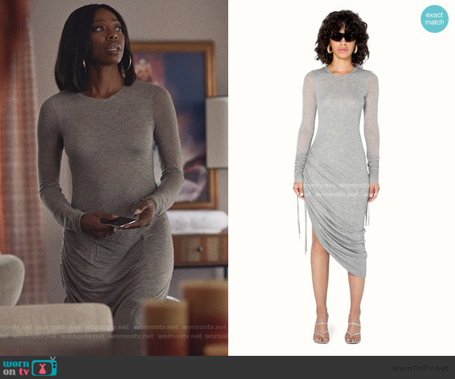 Gray Ruched Dress by Fendi worn by Molly Carter (Yvonne Orji) on Insecure