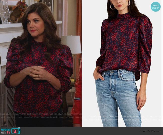 Floral Satin Puff-Shoulder Blouse by FiveSeventyFive worn by Lori Mendoza (Tiffani Thiessen) on Alexa & Katie