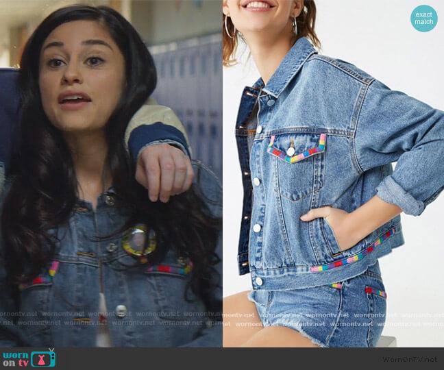 Embroidered Trim Denim Jacket by Forever 21 worn by Yolanda Montez (Yvette Monreal) on Stargirl