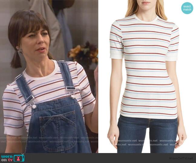 70s Stripe Fitted Tee worn by Elizabeth (Natasha Leggero) on Broke