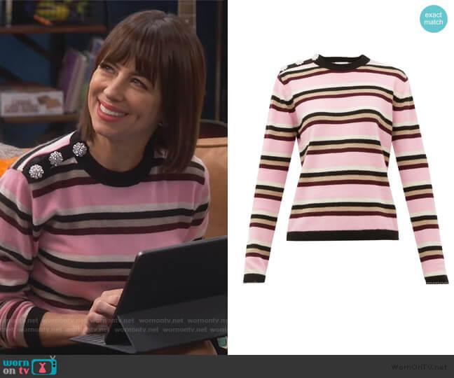 Crystal-button cashmere sweater by Ganni worn by Elizabeth (Natasha Leggero) on Broke