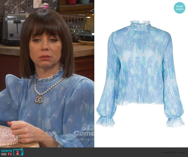 Floral Print Pleated Blouse by Ganni worn by Elizabeth (Natasha Leggero) on Broke