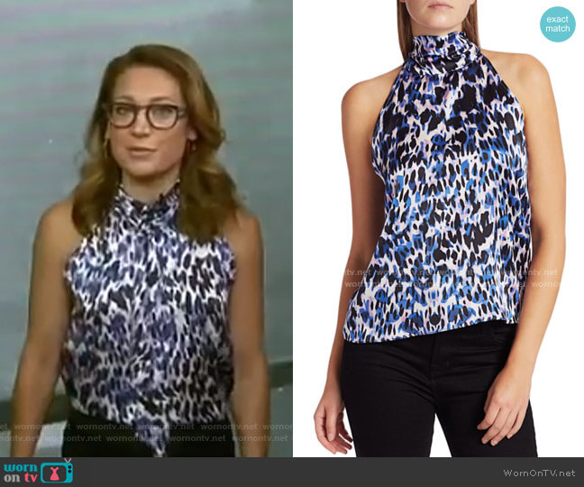 Kaylee Tie Leopard Print Halter Top by Generation Love worn by Ginger Zee  on Good Morning America