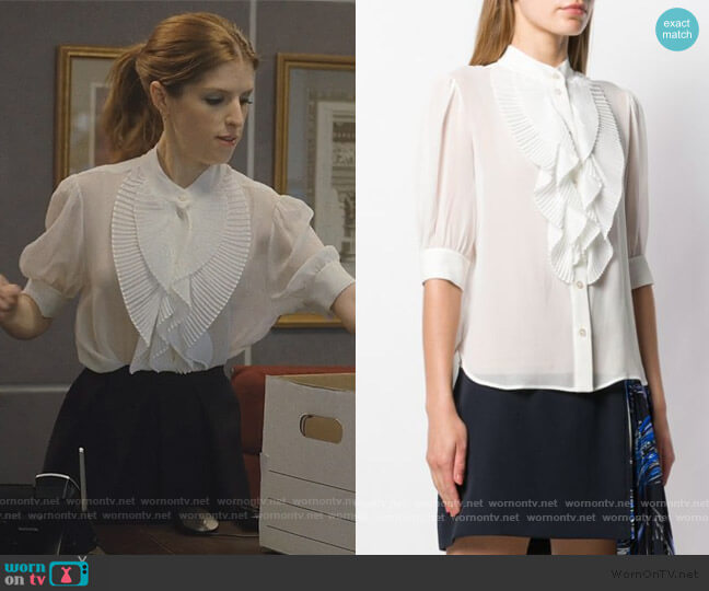 Pleated Ruffle Shirt by Givenchy worn by Darby (Anna Kendrick) on Love Life