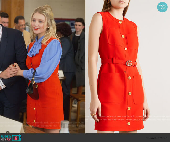 Belted silk and wool-blend cady mini Dress  by Gucci worn by Alice (Julia Schlaepfer) on The Politician