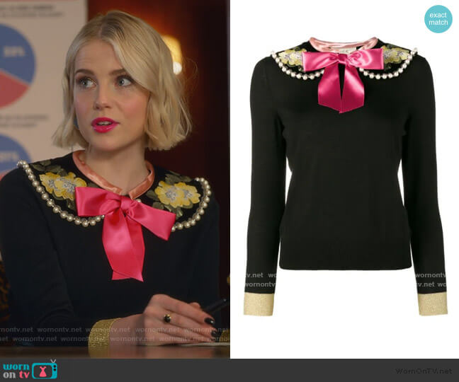 Fitted Jumper with Floral Embroidery and Pearl Embellishment by Gucci worn by Astrid (Lucy Boynton) on The Politician