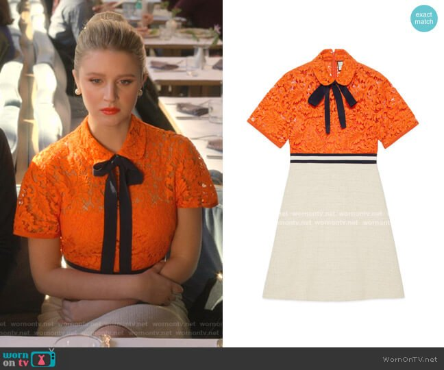 Flower Lace Dress In Orange by Gucci worn by Alice (Julia Schlaepfer) on The Politician