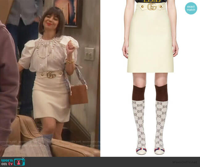 White Belted Skirt by Gucci worn by Elizabeth (Natasha Leggero) on Broke