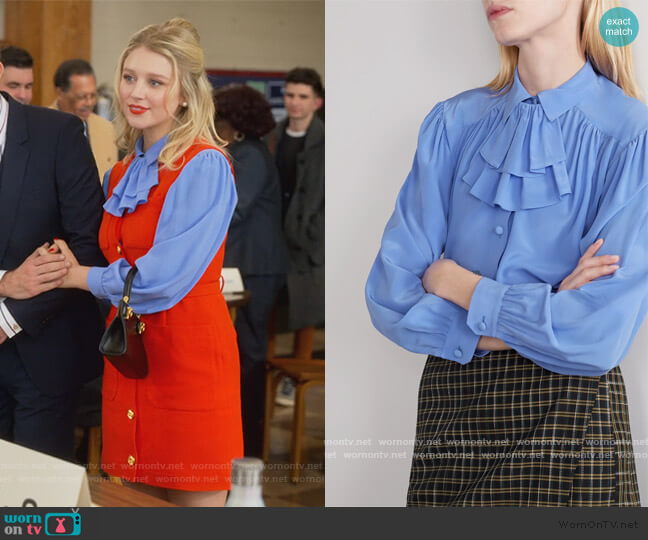 Detachable-ruffle silk-crepe Blouse by Gucci worn by Alice (Julia Schlaepfer) on The Politician