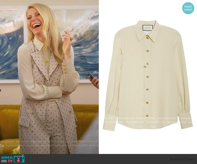 Silk Crepe de Chine Blouse by Gucci worn by Georgina Hobart (Gwyneth Paltrow) on The Politician