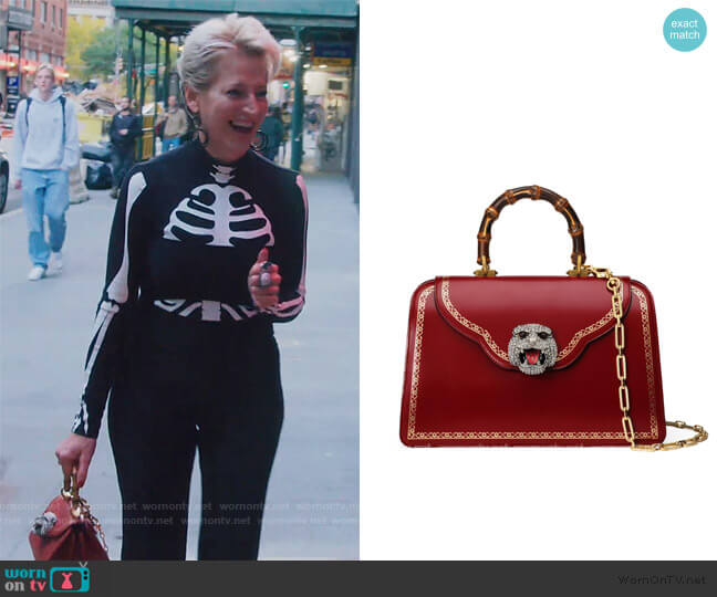 Thiara Medium Leather Top Handle Bag by Gucci worn by Dorinda Medley  on The Real Housewives of New York City