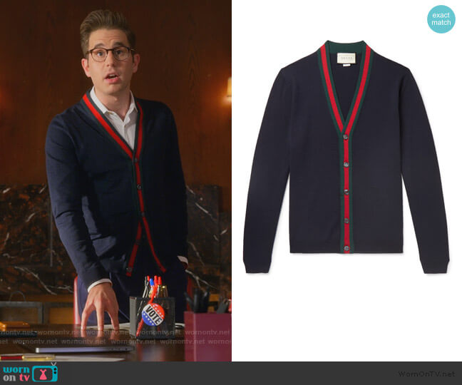 Wool cardigan with Web by Gucci worn by Payton Hobart (Ben Platt) on The Politician