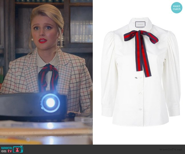 Bow Detail Shirt by Gucci worn by Alice (Julia Schlaepfer) on The Politician