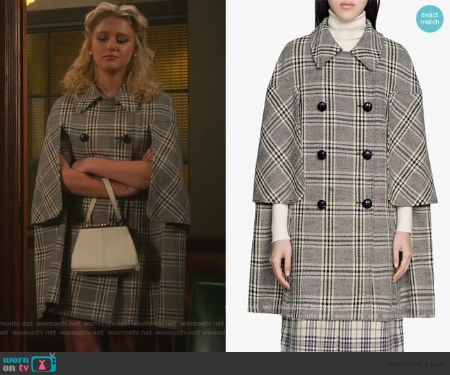 Madras Wool Blend Cape Coat by Gucci worn by Alice (Julia Schlaepfer) on The Politician