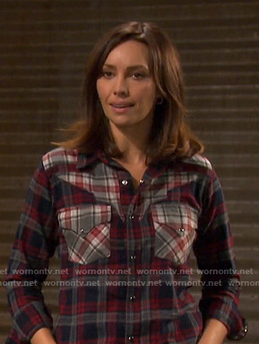 Gwen's mixed plaid shirt on Days of our Lives