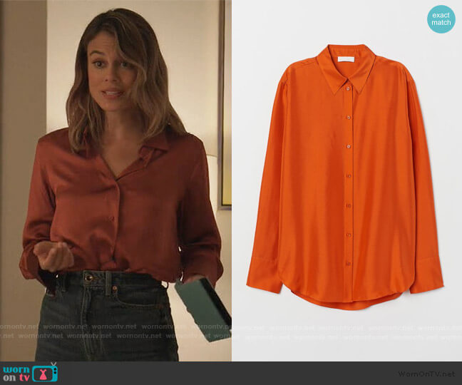 Silk Shirt by H&M worn by Noa Hamilton (Nathalie Kelley) on The Baker & the Beauty