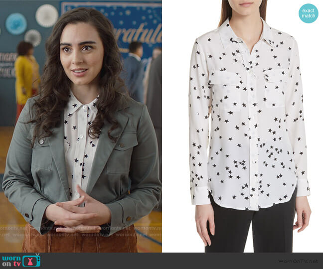 Slim Signature Star Print Top by Equipment worn by Veronica St. Clair on 13 Reasons Why