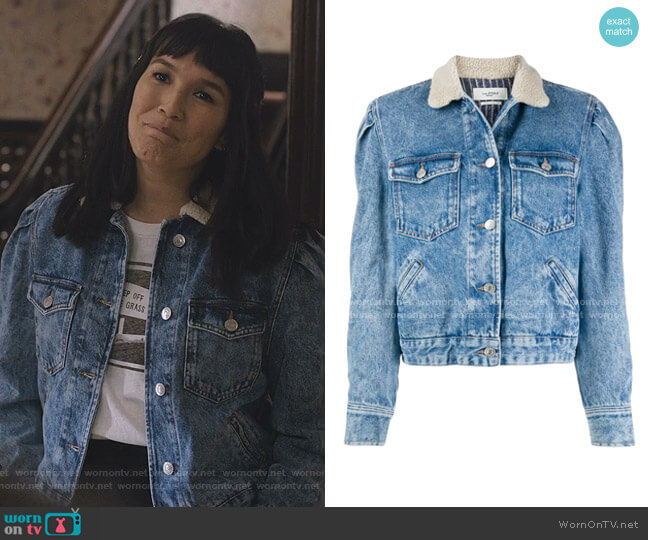 Nolinea Shearling-Collar Denim Jacket by Isabel Marant Etoite worn by Sara (Zoe Chao) on Love Life