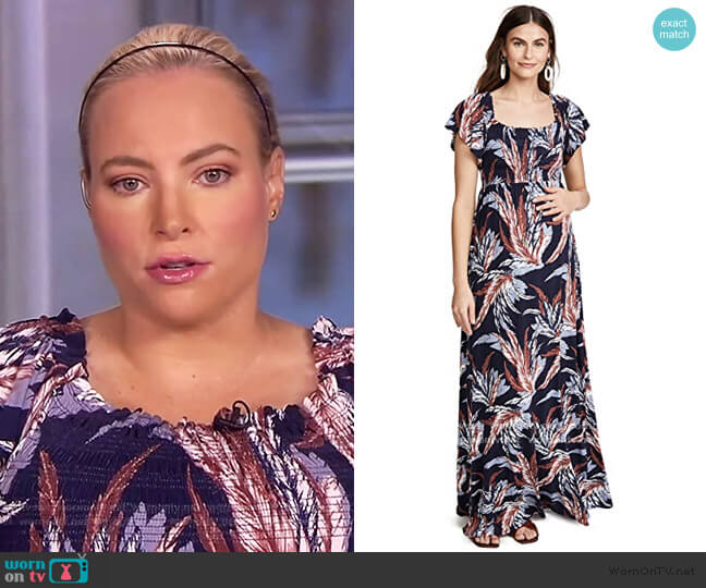 Off Shoulder Smocked Maternity Maxi Dress by Ingrid & Isabel worn by Meghan McCain  on The View