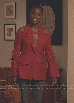 Issa's red cold shoulder jacket on Insecure