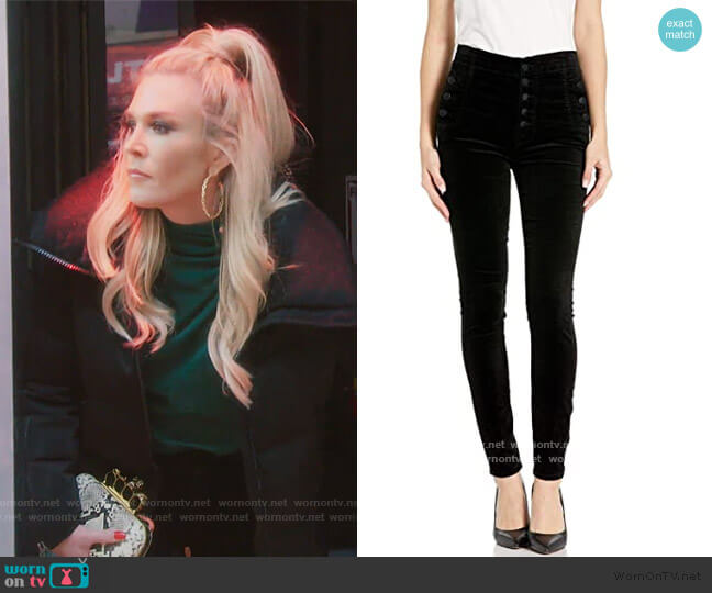 Natasha Sky High Velvet Pants by J Brand worn by Tinsley Mortimer  on The Real Housewives of New York City