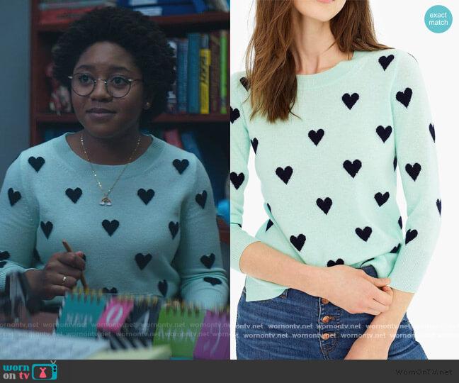 Everyday Cashmere Crewneck Sweater With Intarsia Knit Hearts by J. Crew worn by Beth Chapel (Anjelika Washington) on Stargirl