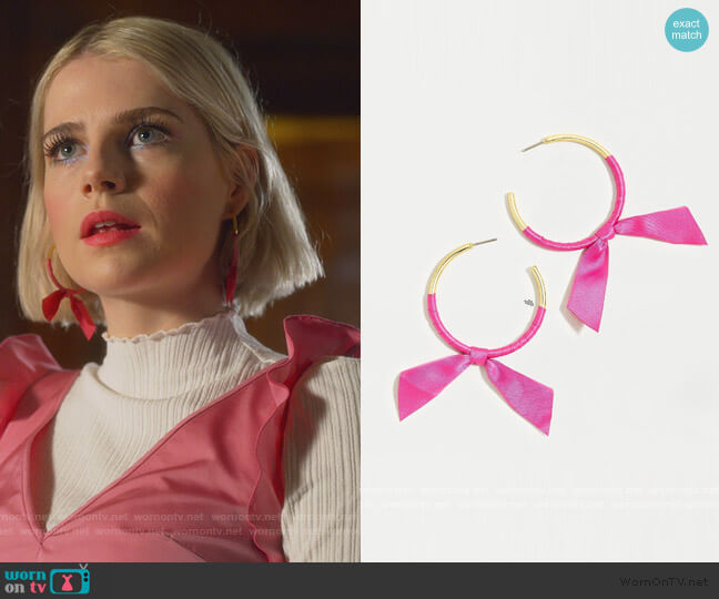 Ribbon Tie Earrings by J. Crew worn by Astrid (Lucy Boynton) on The Politician