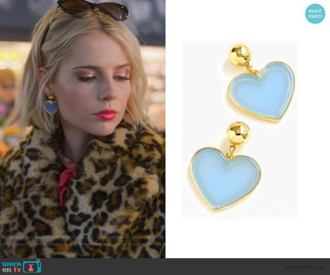 Blue Heart Drop Earrings by J. Crew worn by Astrid (Lucy Boynton) on The Politician