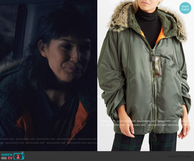 Hooded faux fur-trimmed padded shell parka by Junya Watanabe worn by Sara (Zoe Chao) on Love Life