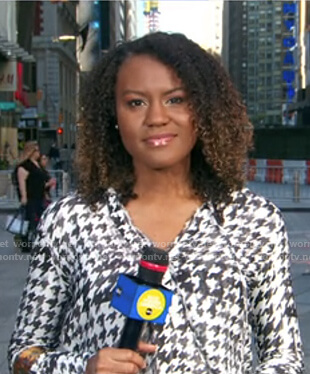 Janai's houndstooth blouse on Good Morning America