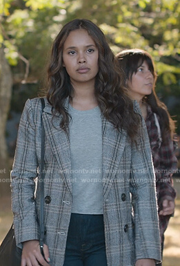 Jessica's grey plaid blazer on 13 Reasons Why