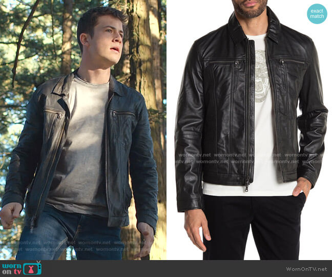 Leather Jacket by John Varvatos Star USA worn by Clay Jensen (Dylan Minnette) on 13 Reasons Why