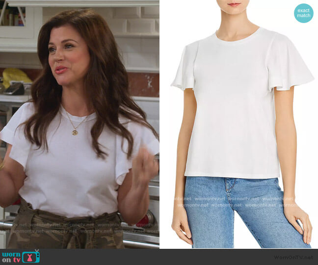 Aeowin Flutter-Sleeve Tee by Joie worn by Lori Mendoza (Tiffani Thiessen) on Alexa & Katie